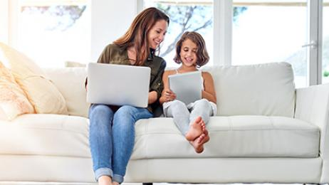 Verizon Fios deal tile mother daughter on tablet and laptop